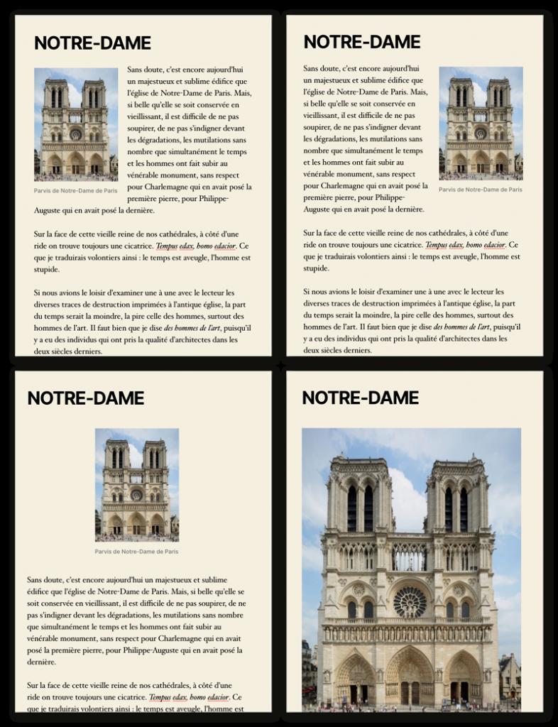 Différents alignements d'images