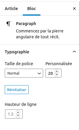 Capture d'écran du réglage Typographie dans le bloc paragraphe.