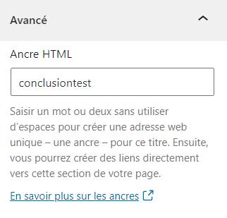 Capture d'écran du réglage avancé de bloc Ancre HTML