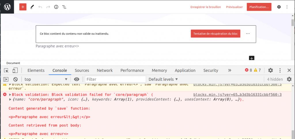 Capture d'écran de la console de Chrome, dans l'éditeur, présentant une erreur JavaScript