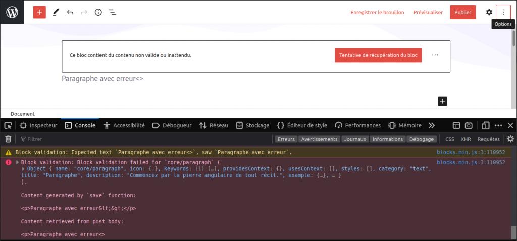 Capture d'écran de la console de Firefox, dans l'éditeur, présentant une erreur JavaScript