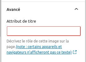 Capture d'écran de l'attribut de titre dans les réglages avancés du bloc Image.