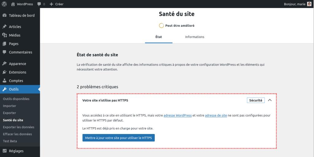 Outil de santé du site proposant la migration https