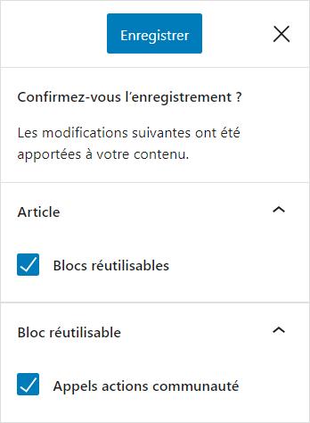 Enregister un bloc réutilisable via une publication