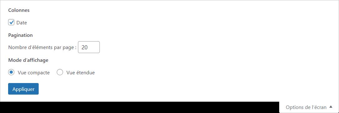 options de l'écran blocs réutilisables