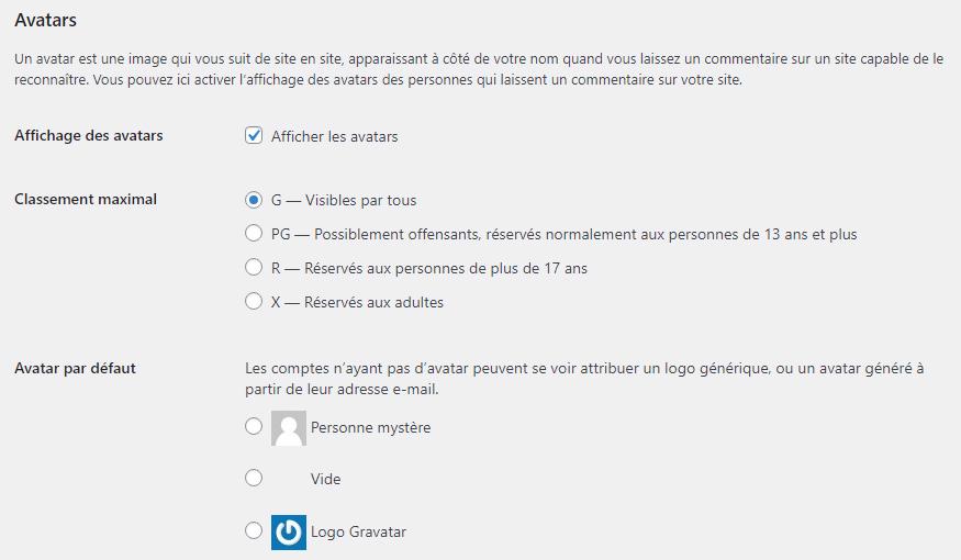 Options d'affichage des avatars dans les paramètres WordPress