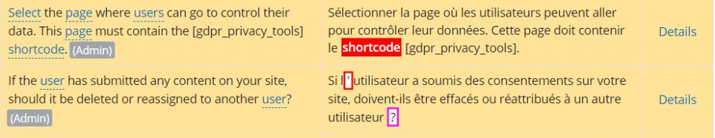 Exemple de chaînes comportant des erreurs détectées par SPTE